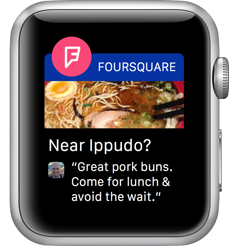 Foursquare para Apple Watch Notificaciones  Foursquare para Apple Watch