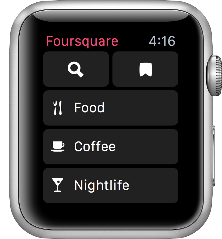 Foursquare para Apple Watch busqueda mas rapida  Foursquare para Apple Watch